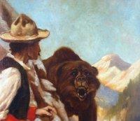 Close-up of man and bear